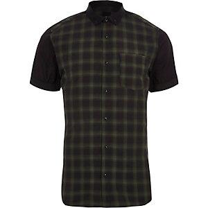 Green check slim fit short sleeve shirt