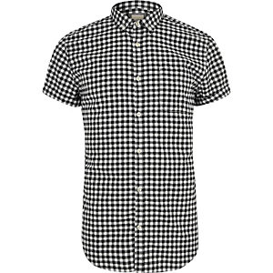 Black gingham slim fit short sleeve shirt