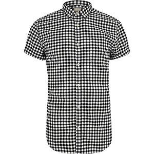 Zwart slim-fit overhemd met korte mouwen en gingham-ruit