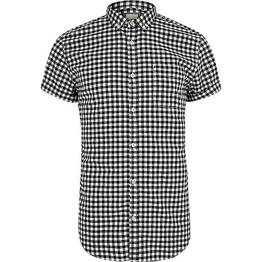 Black gingham slim fit short sleeve shirt
