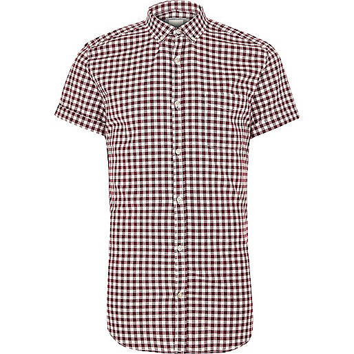 Red gingham slim fit short sleeve shirt
