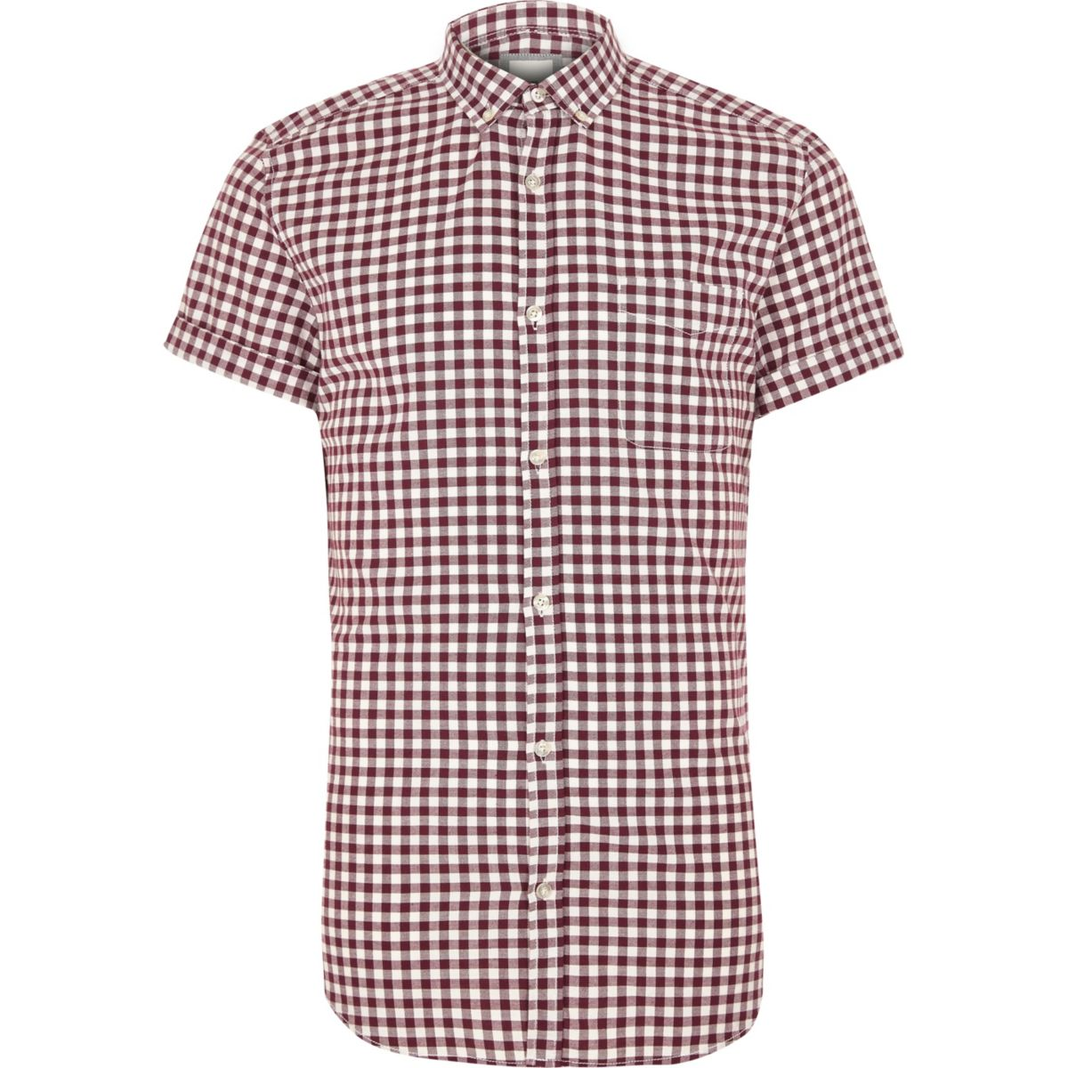 Red gingham slim fit short sleeve shirt