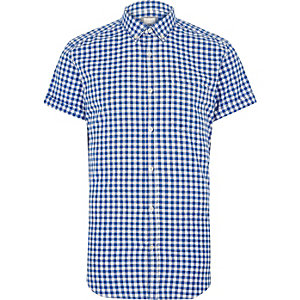 Blue gingham slim fit short sleeve shirt