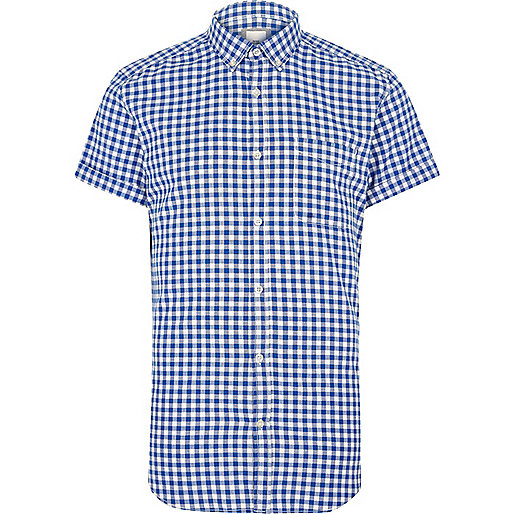 Blue gingham slim fit short sleeve shirt