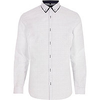 Big and Tall white print button-down shirt