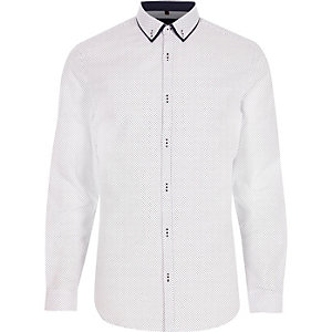 Big and Tall white print button-down shirt