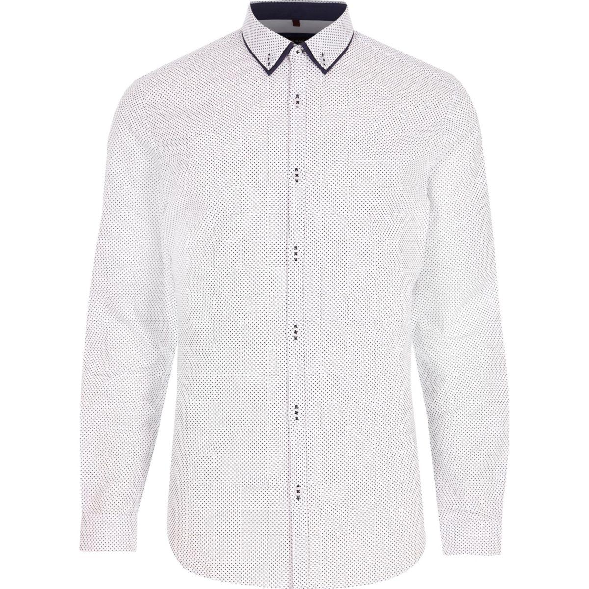 Big & Tall – Chemise imprimée blanche à boutons