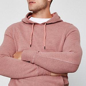 Pink melierter Muscle Fit Hoodie