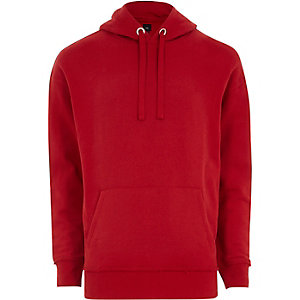 Red slouch fit hoodie