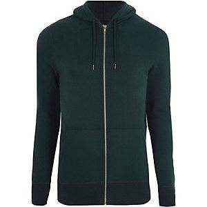 Sweat à capuche zippé ajusté vert forêt