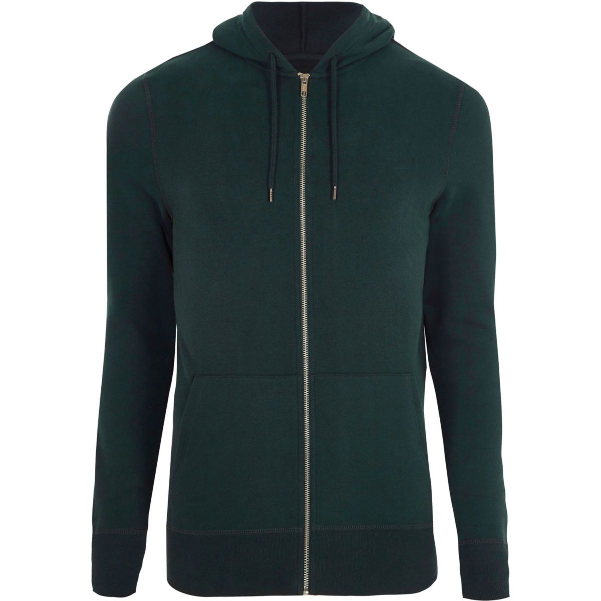 Forest green muscle fit zip up hoodie