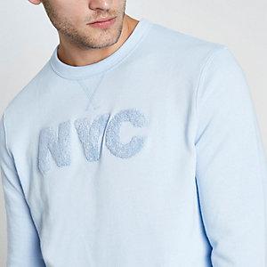 Sweat bleu «NYC» appliqué à manches longues