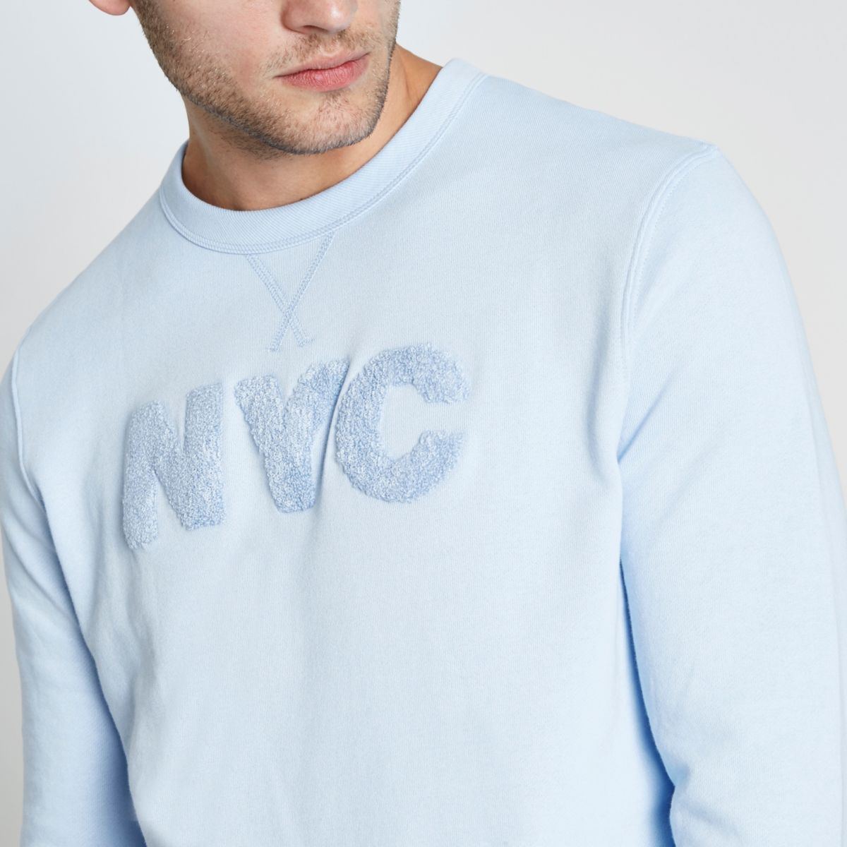 Blue long sleeve 'NYC' applique sweatshirt