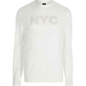 Sweat blanc «NYC» appliqué à manches longues
