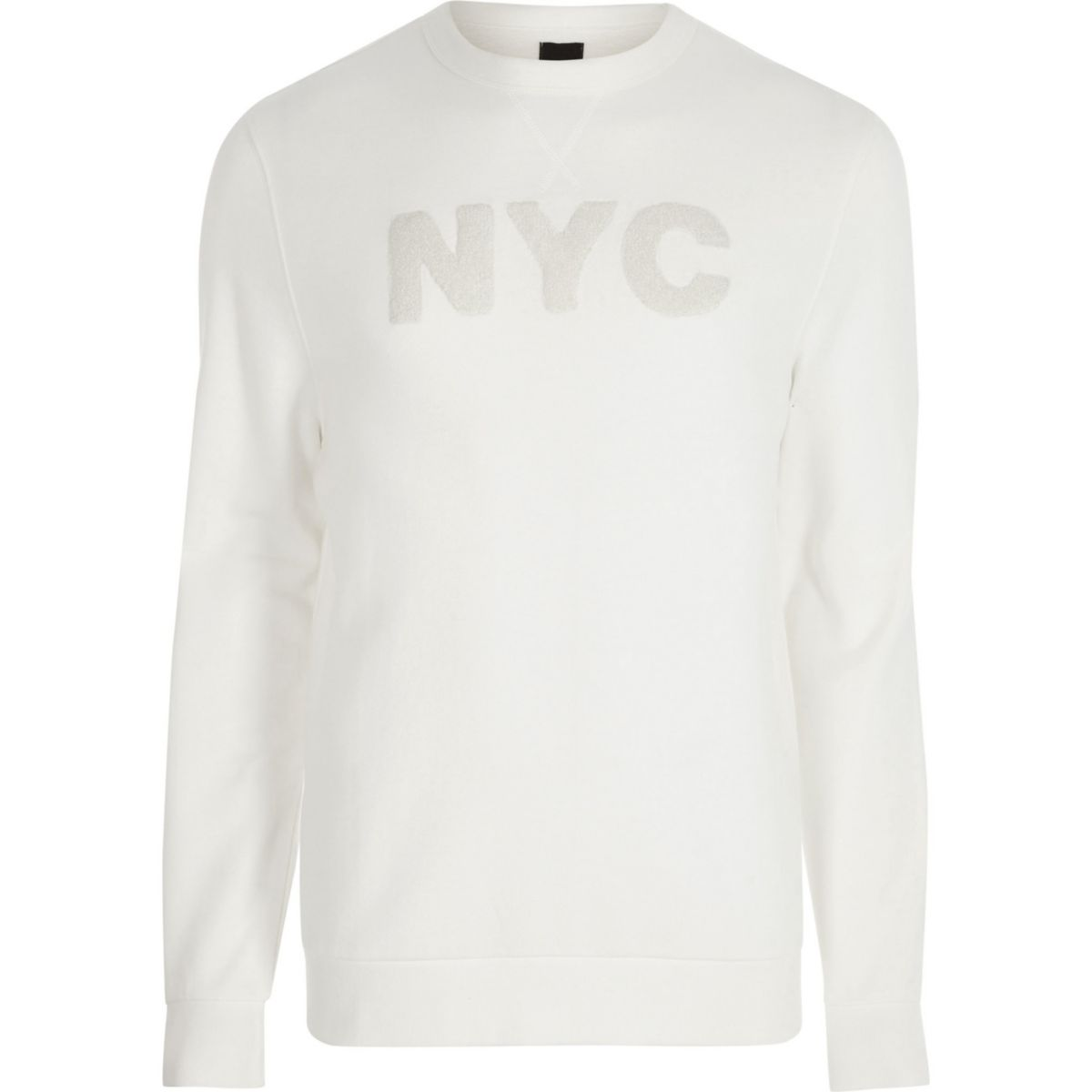 White long sleeve 'NYC' applique sweatshirt