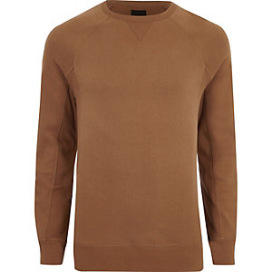 Tan muscle fit long sleeve sweatshirt