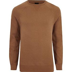 Bruin aansluitend sweatshirt met lange mouwen