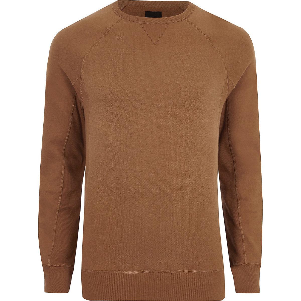 Tan muscle fit long sleeve sweatshirt