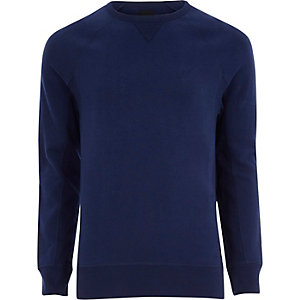 Cobalt blue long sleeve muscle fit sweatshirt