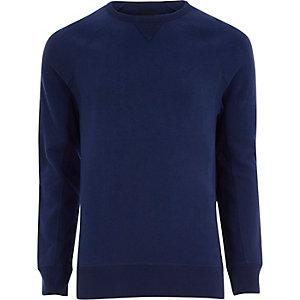 Kobaltblauw aansluitend sweatshirt met lange mouwen