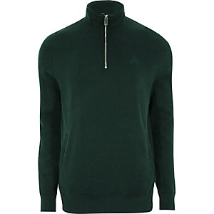 Green zip-up funnel neck sweatshirt