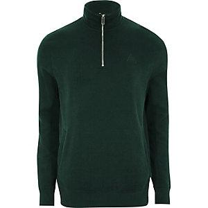 Grünes Sweatshirt mit Tunnelkragen