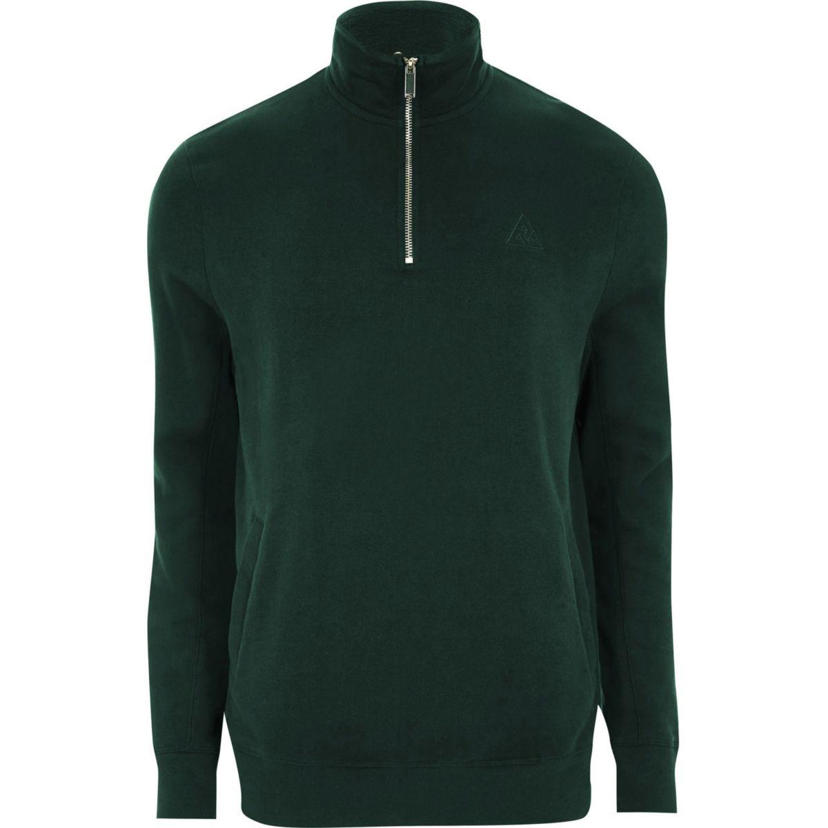 Green zip-up funnel neck sweatshirt