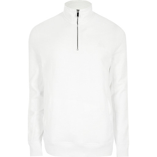 White zip-up funnel neck sweatshirt