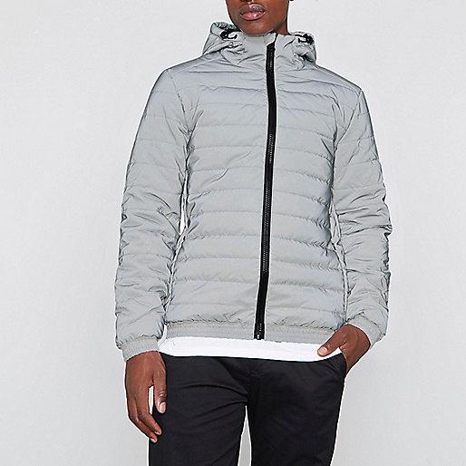 Grey reflective funnel neck puffer jacket