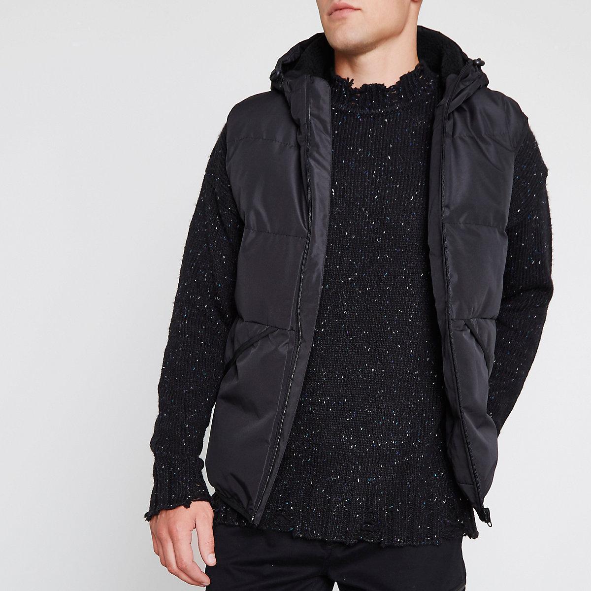 Black hooded puffer gilet
