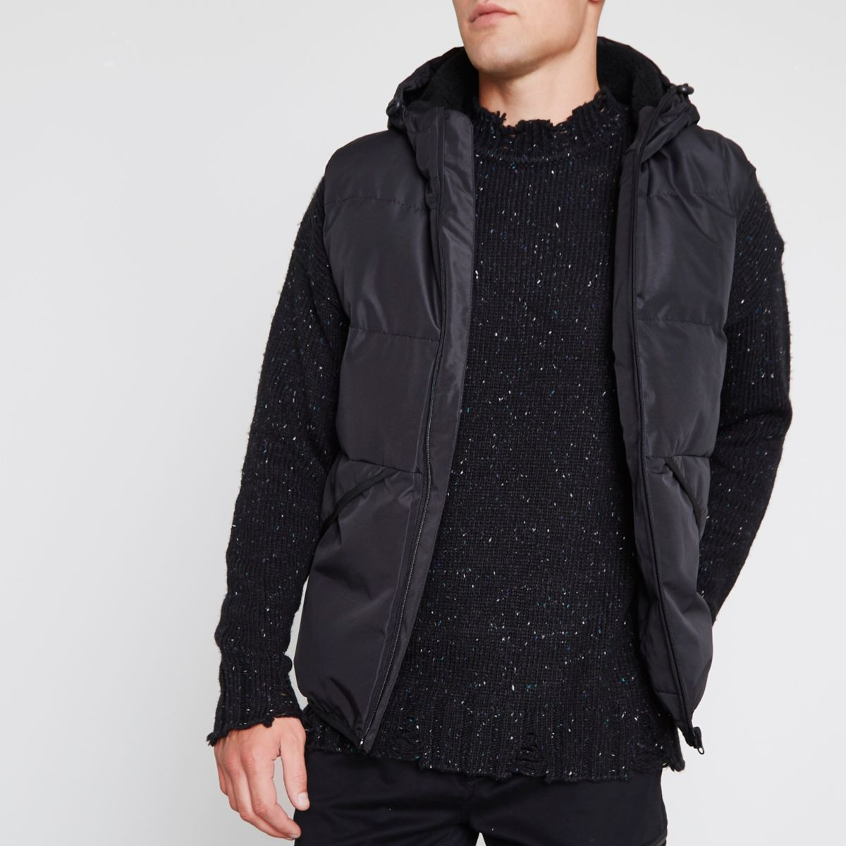 Black hooded puffer vest