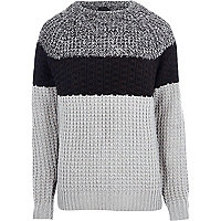 Grey blocked fisherman jumper