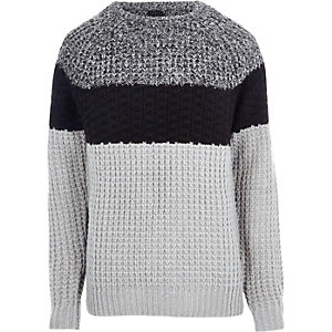 Grey blocked fisherman sweater