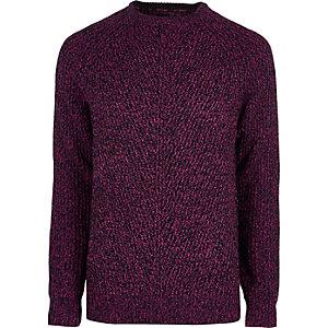 Roze pullover met textuur en ronde hals