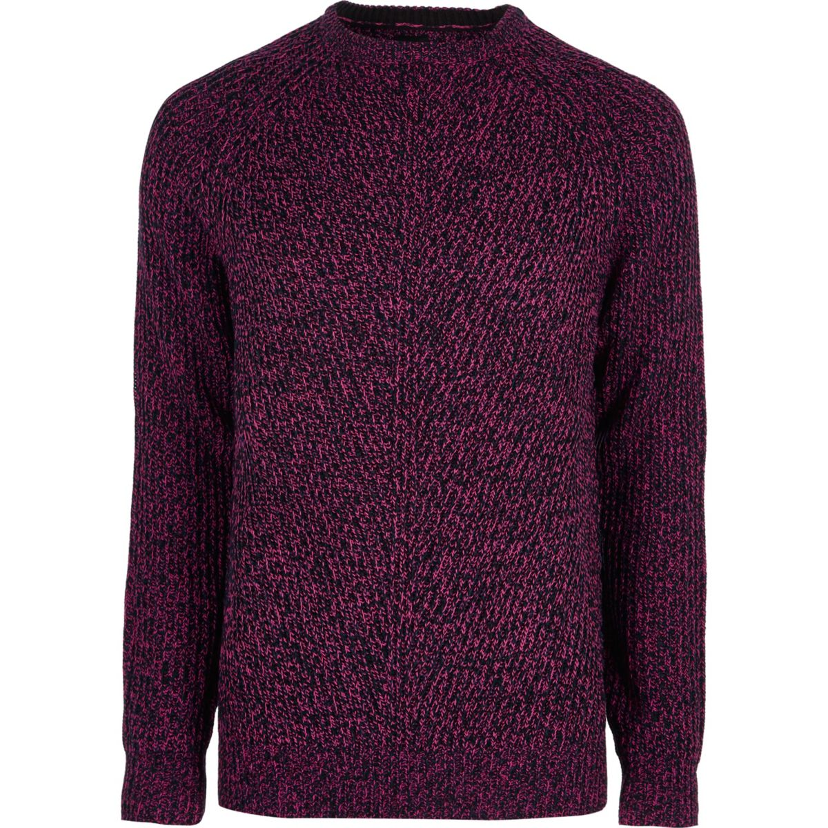 Pink textured crew neck jumper
