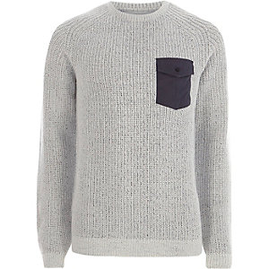 Light grey contrast pocket ribbed knit sweater