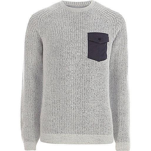 Light grey contrast pocket ribbed knit sweater