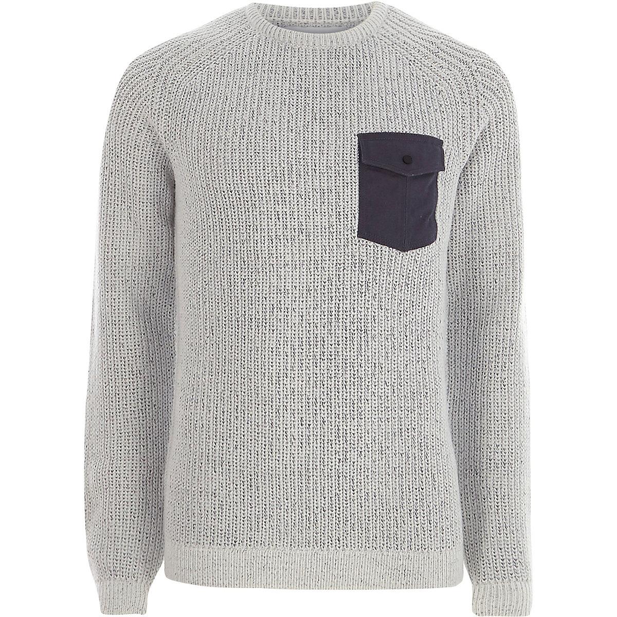 Light grey contrast pocket ribbed knit jumper