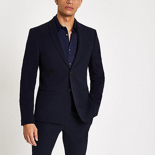Navy super skinny suit jacket