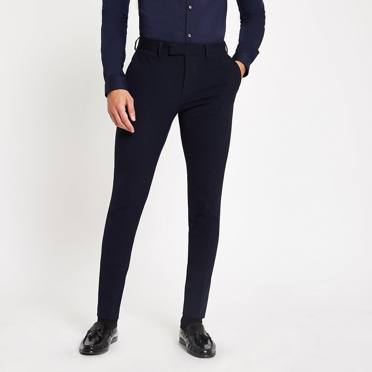 Navy super skinny suit pants