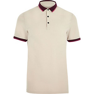 Cream tipped muscle fit polo shirt