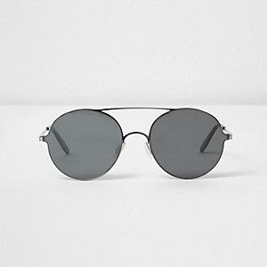 Grey round flat lens sunglasses