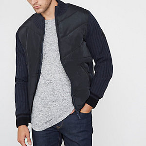 Navy quilted ribbed knit sleeve padded jacket