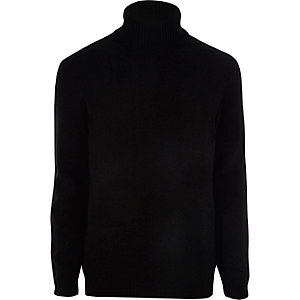 Black chenille roll neck sweater