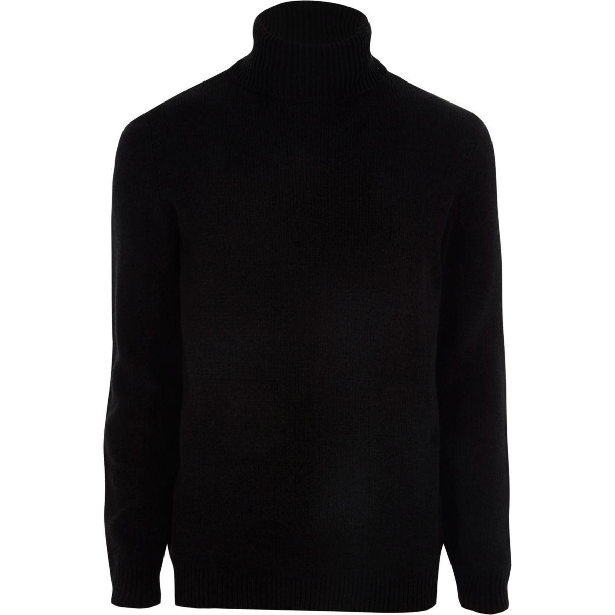 Pull noir en maille chenille à col montant