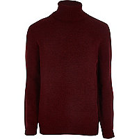 Dark red chenille roll neck sweater