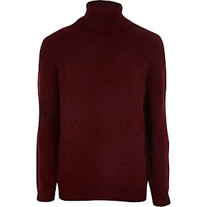 Dark red chenille roll neck sweater