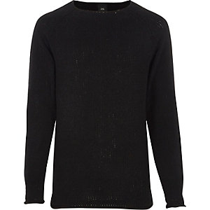 Black raw edge chenille knit sweater