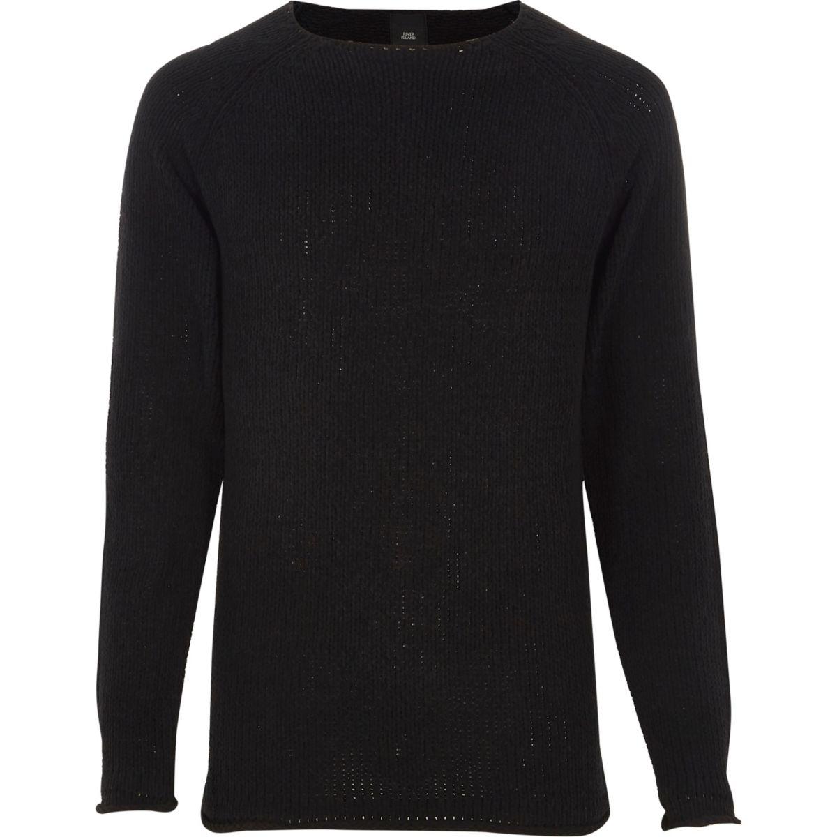 Black raw edge chenille knit jumper