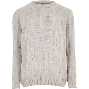Light grey basket stitch knit sweater